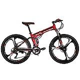 "Eurobike Folding Mountain Bike 21 Speed Full Suspension 26"" Bicycle Disc Brake MTB (Red)"