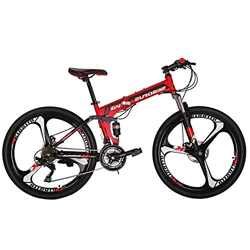 Eurobike Folding Mountain Bike 21 Speed Full Suspension 26' Bicycle Disc Brake MTB (Red)