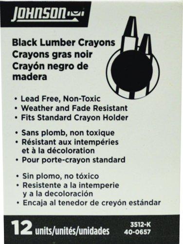 Johnson Level & Tool 3512-K Johnson Level & Tool Black Lumber Crayons (12 Pack)
