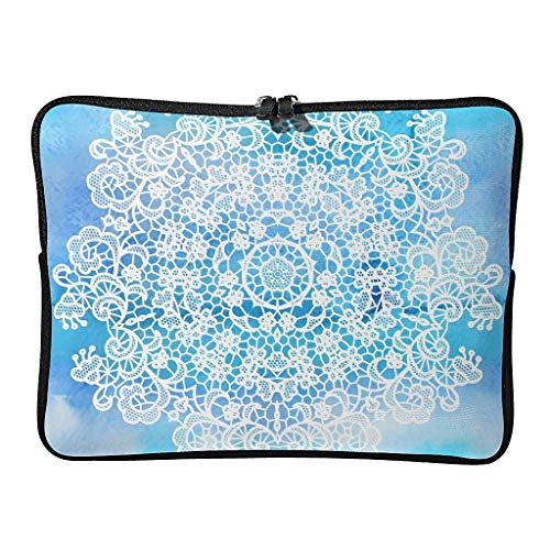 5 Sizes Gradient Blue Laptop Bags Slim Expandable - Bohemian Laptop Sleeve Suitable for Work White 15inch