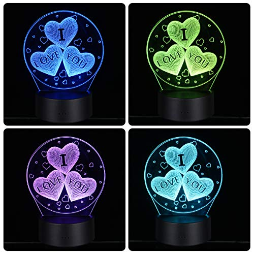 LEDMOMO 3D Herz Formen Nachtlichter 7 Farben Ändern LED Lampe Touch USB Fernbedienung Tischlampe für Paare Romantische Nacht Valentinstag Liebhaber Schlafzimmer Geschenk (drei herzförmigen)