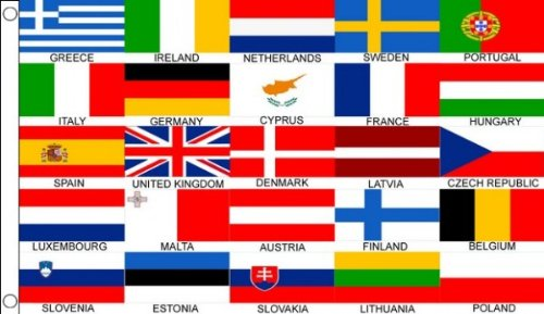 Bannière de 25 drapeaux de pays européens 100 % polyester - 150 x 90 cm 25 - Idéale pour les clubs, l'école, le travail, la décoration de fête, l'Eurovision