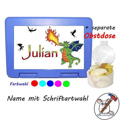 Kinder Brotdose mit Drachen Motiv und Name/Lunchbox für Kinder mit Name/grüner Drache/Farbwahl Brotbox + Schriftwahl für Name