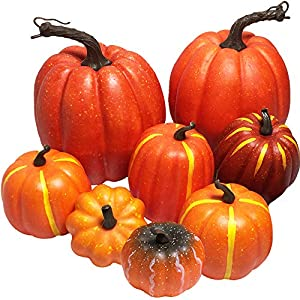 Sun-E Artificial Pumpkins,Sizes from 2 – 6″ Rustic Harvest Artificial Pumpkins for Halloween, Fall Thanksgiving Decorating Harvest Displaying and Embellishing Wedding Party Decorations