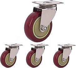 Rubberen zwenkwielen Trolley meubelzwenkwiel met remmen 360 graden draaibare 75/100 / 125mm slijtvast 4 stuks