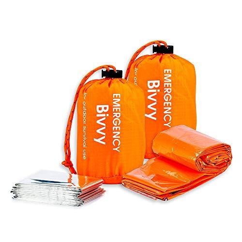 BesWlz Emergency Sleeping Bags,Survival Bivvy Sack Lightweight Waterproof, Portable Nylon Sack Gear for Outdoor Camping Hiking & Emergency Shelter (2Pack)+ Emergency Survival Blanket