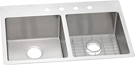 Elkay ECTSR33229BGFR2 Crosstown Equal Double Bowl Dual Mount Stainless Steel Sink Kit
