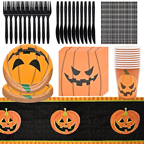 Halloween Paper Tableware – simyron 86Pieces Halloween Tableware Supplies, Halloween Party Tableware with Paper Plates, Paper Cups, Napkins, Straws – Serves 10 Guests