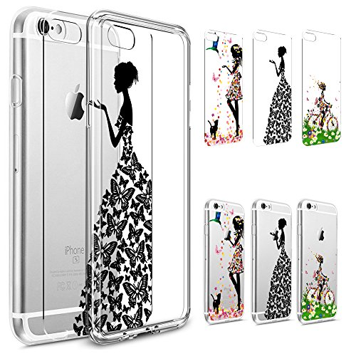 iPhone 5S Case,iPhone SE Clear Case,PHEZEN [3-Pack] Fashion Flower Butterfly Girl Art Pattern Paper with 1 Pc Crystal Clear Bumper TPU Soft Case Rubber Silicone Skin Cover for iPhone SE/5/5S