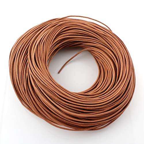 Perlin - Cordón de piel de vacuno para joyería y manualidades (10 m, 1/2/2,5 mm), color marrón arena