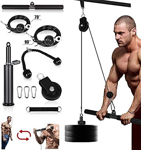 Kacsoo Seilzug Fitness LAT Seilzug Kabelsystem, Heimtrainings-Fitnessgeräte, Unterarm-Handgelenkrollen-Trainer Armkrafttraining für Pulldowns, Bizeps-Curl, Trizeps-Verlängerungen