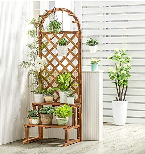 Scaffale Porta-Fiori Montaggio a Parete Fioriera con Grigliato in Legno da Giardino Vaso per Piante Rampicanti con Griglia Resistente Beige