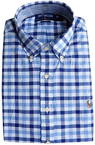 Ralph Lauren Herren Slim Fit Hemd (Blau kariert, L)