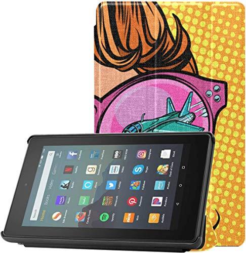 Funda HD Fire 7 Funda para Mujer con Gafas de Sol para Tableta Fire 7 para Tableta Fire 7 (novena generación, versión 2019) con Reposo/activación automático