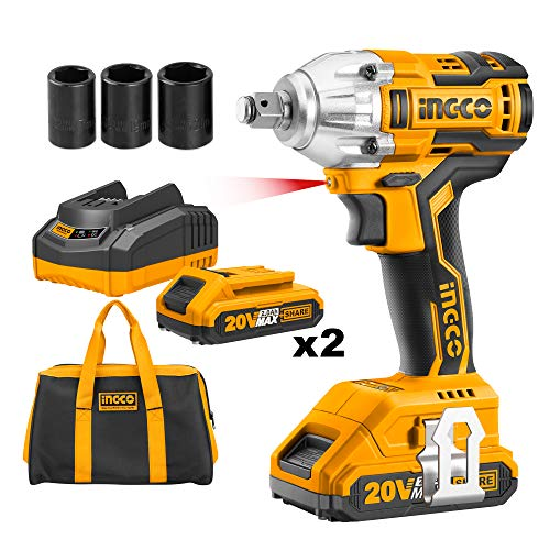 Ingco 20V Brushless Lithium-Ion Impact Wrench with 2 PCS 2.0Ah Batteries,...