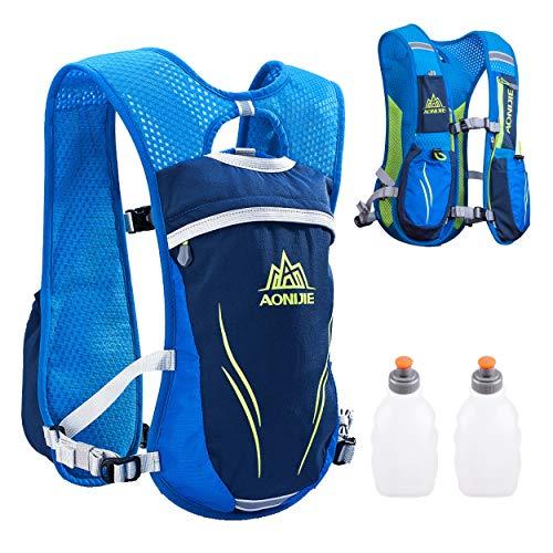 TRIWONDER Chaleco de Hidratación Ligero 5.5L Superior Mochila para Trail Running Ciclismo Marathoner Profesional al Aire Libre Hombre Mujer (Azul - con 2 250 ml Botella)