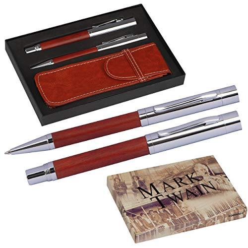 Mark Twain Schreibset inkl. Kugelschreiber und Füllfederhalter, edles Schreibmaterial für Büro u. Arbeitsplatz