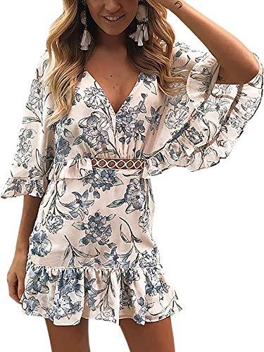 ECOWISH Damen Kleider V-Ausschnitt Sommerkleid Blumen Mini Strandkleid Boho Rüschen Fledermausärmel Freizeitkleider Blau XL