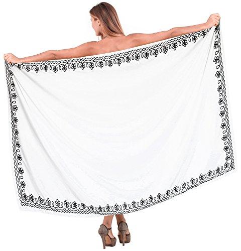 LA LEELA Ropa de Playa rayón Las Mujeres del Bikini Bordado Encubrir Vestido Pareo Traje de baño Traje de baño Ghosts Blanco_D947