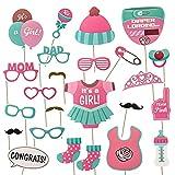 AIBAOBAO 23pcs Niña bebé Fotomatón Baby Shower, Ducha Fotomatón Apoyos Photocall para Partido Cumpleaños, Decoraciones, Favores y Suministros para Niña-Fiesta de Revelación de Género (rosado) (rosado)