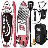 RE:SPORT SUP Board Set aufblasbar | Stand Up Paddle Board mit Zubehör | Paddling Surfbrett | Surfboard für Einsteiger & Fortgeschrittene (Schwarz, 305cm)