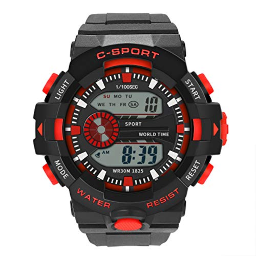 Lazzgirl Männer Analog Digital Military Sport LED wasserdichte Armbanduhr Neu(Rouge,One Size)