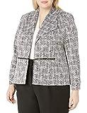 Kasper Women's Knit Metallic Jacquard Jacket with Zipper Pocket Detail, Black Multi, 16