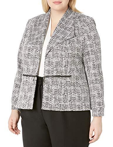 Kasper Women's Plus Size Knit Metallic Jacquard Jacket with Zipper Pocket Detail, Black Multi, 14W