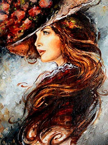 Liedaf Paint by Numbers for Adults and Kids,Woman In Hat 40x50cm,DIY Acrylic Painting Kit For Kids & Adults Beginner Decorations Gifts
