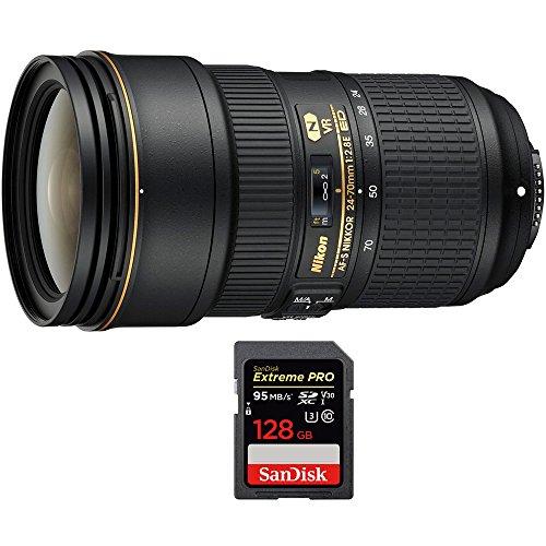 Nikon 24-70mm f/2.8E ED VR AF-S NIKKOR Zoom Lens for Nikon Digital SLR Cameras (20052) with Sandisk Extreme PRO SDXC...