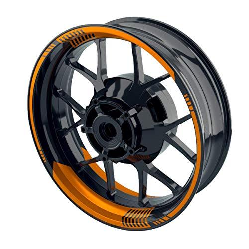 OneWheel Felgenaufkleber Motorrad - Felgenstreifen | Racing V1 Wheelsticker Set für Vorder- & Hinterrad (orange - glänzend)