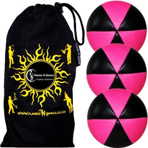 3X Flames N Games Astrix UV Thud Jonglierbälle 3er Set (Schwarz/UV Rosa) Profi Beanbag Bälle aus Glattleder (Leather) + Reisetasche! Ideal für Anfänger und Profis!