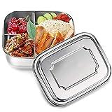 Brotdose Edelstahl, 1000ml Lunchbox Edelstahl Auslaufsicher Bento Box Brotdose aus Metall mit 3 Fächern Lebensmittel-Snack-Container für Kinder Schule und Büro für Erwachsene
