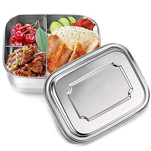 Fiambrera, 1000ml Acero Inoxidable Fiambrera, Contenedores de Alimentos, Apta para lavavajillas Bento de Comida Caja de Almuerzo para con Tres Compartimentos (1000ml)