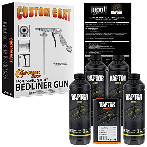 U-POL Raptor Tintable Urethane Spray-On Truck Bed Liner Kit w/Free Custom Coat Spray Gun with Regulator, 4 Quart Kit