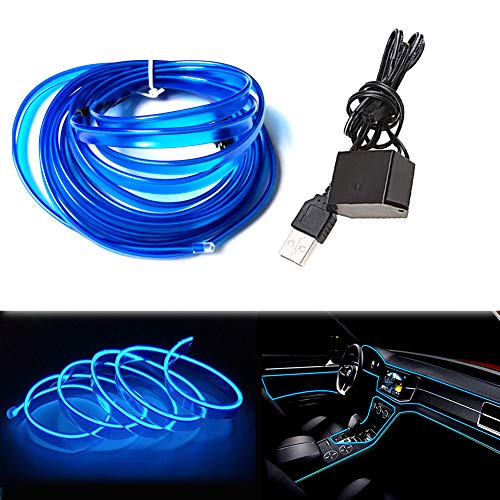 Tubo flexible de luz de neón USB EL Wire azul, 3 m / 9,8 pies CC, 5 V, tubo de neón, iluminación interior para el revestimiento interior del coche, decoración
