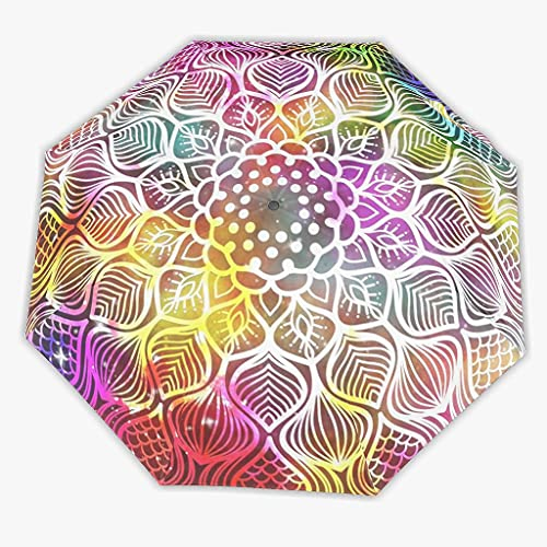 Sombrilla mágica colorida con apertura automática/cierre a prueba de viento con un toque – Bohemia con funda impermeable (2 opciones: manual/automático), White (Blanco) - LL·Shawn-UBR