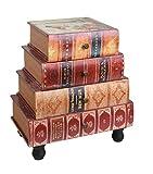 ts-ideen estantería cómoda librero estilo de vintage antiguo libros rustico con 4 cajones, color rojo