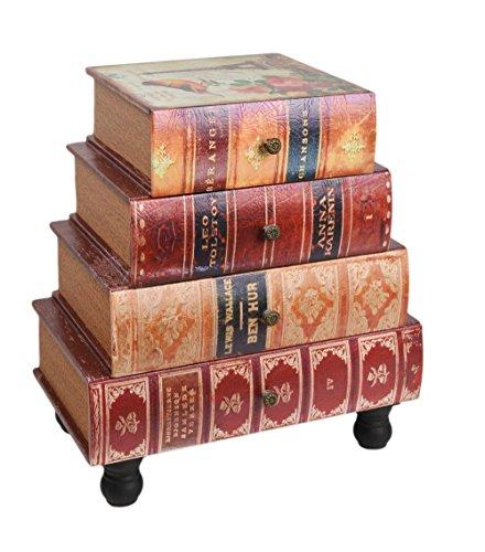 ts-ideen commode boekenkast in vintage antiek boek look nachtkastje telefoontafel