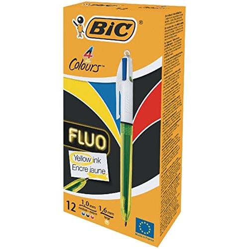 Bic 4 Kleuren Fluo Balpen [Pack van 12]