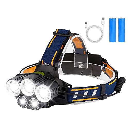 BRIGENIUS LED Stirnlampe mit Batterien, wasserdichter Kopflampe USB Stirnlampe wiederaufladbar, rotes Warnlicht, zum Campen, Joggen, Wandern, Gehen, Angeln und Nachtarbeiten