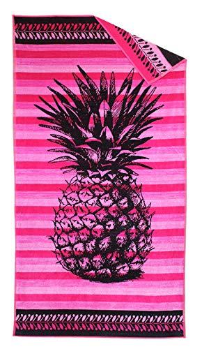P.K. Collection Strandtuch Ananas pink gestreift Strandhandtuch 90x165 cm Velours Strandlaken