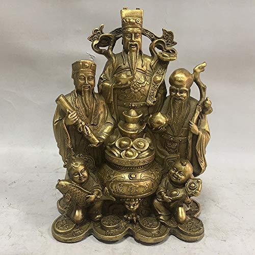 Liangliang988 Chinesischer Feng Shui reines Kupfer Messing Sanxian Jubao Fu Lu Shou DREI Götter Heimdekoration