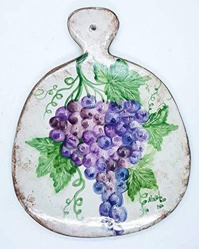 Sottopentola Tagliere Linea Uva Realizzato e dipinto a mano Le Ceramiche del Castello Made in Italy Pezzo Unico dimensioni 18 x 14,5 centimetri