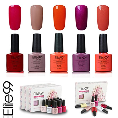 Elite99 Esmalte de Uñas Semipermanente Uñas de Gel UV LED Kit de Manicura 5pcs en Caja Pintauñas Soak off 7.3ml - Kit 004