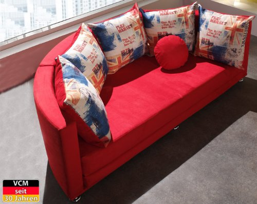 VCM Couch Sofa My Moon, 210 x 108 x 82 cm, Schaumstoff / Mikrofaser