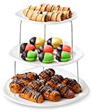 Collapsible Party Tray, 3 Tier - The Decorative Plastic Appetizer Trays Twist Down and Fold Inside for Minimal Storage Space. An Elegant Tray for Serving Sandwiches, Cake, Sliced Cheese and Deli Meat.