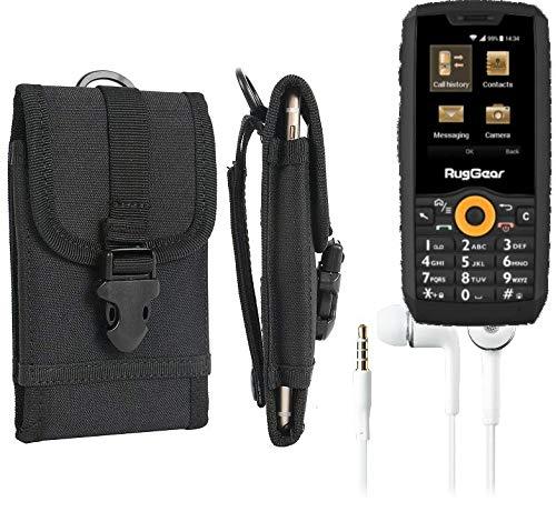 K-S-Trade® Holster Schutzhülle Für Ruggear RG150 Gürteltasche Handyhülle Schutz Hülle Gürtel Tasche Handy Tasche Outdoor Seitentasche Schwarz 1x + Kopfhörer