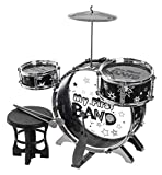 FiNeWaY Kids 4Pc My First Drum Kit Play Set Musical Toy Instrument With Pedal & Stool – Includes 5 Drums, 1 Cymball, 2 Sticks & Stool – Ideal for Both Boys & Girls Xmas Birthday Gift Party
