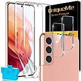 UniqueMe [4 Pack] compatible con Samsung Galaxy S21 (6.2 pulgada) [2 Pack] Protector de Pantalla y [2 Pack] Protector de Lente de cámara, [Cobertura máxima] [Sin Burbujas] TPU Film